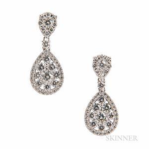 18kt White Gold and Diamond Earrings