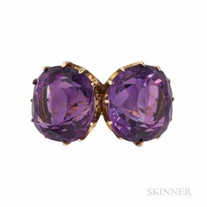 Gold and Amethyst Twin-stone Ring