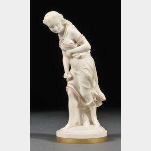 Worcester Porcelain Parian Figure Against the Wind