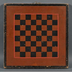 Painted Wooden Checkers/Backgammon Game Board