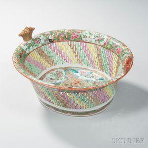 Rose Medallion Reticulated Porcelain Fruit Basket