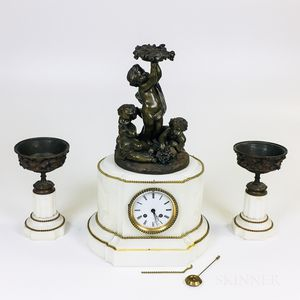 Louis XVI-style Three-piece Alabaster and Bronze Clock Garniture