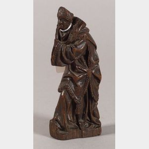 Continental Carved Fruitwood Figural Architectural Fragment
