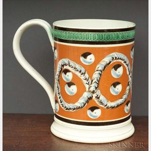Mochaware Quart Mug with Earthworm and Cat's-eye Decoration