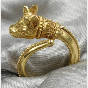 22kt Gold Calf's Head Ring, Lalaounis