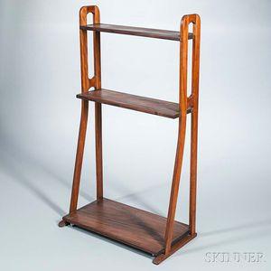 Modernist Three-tier Hardwood Rolling Shelf