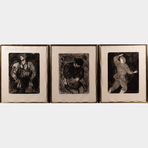 Sandro Chia (Italian, b. 1946)      Three Framed Etchings: The Runner