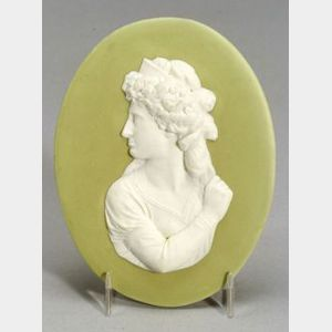 Wedgwood Green Jasper Dip Portrait Medallion of Mrs. Siddons