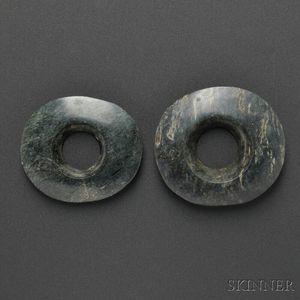 Pair of Mayan Jadeite Ear Spools