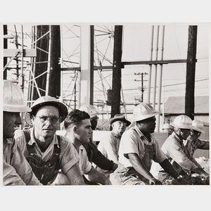 Robert Frank (Swiss, b. 1924)      Workers in Hard Hats