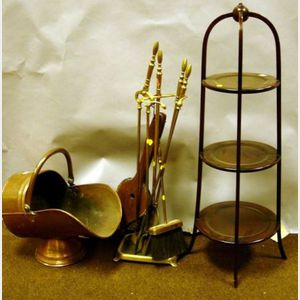 Mahogany Muffineer, Set of Four Brass Firetools with Stand, Wooden Bellows, and a Copper Coal Scuttle.