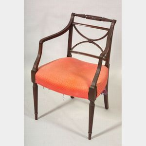 Neoclassical Mahogany Carved Armchair