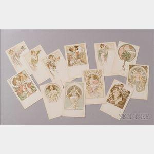 Set of Twelve Alphonse Mucha/Champenois Serie 5 Postcards