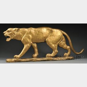 Carved and Gilded Catamount Figural Tavern Sign