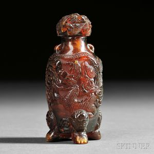 Red/brown Amber Snuff Bottle with Dragons