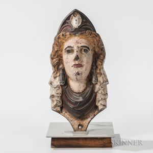 Polychrome Painted Cast Iron Columbia Bust