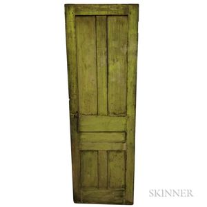 Green-painted Pine and Wrought Iron Paneled Door
