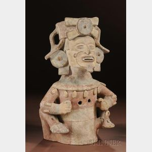 Pre-Columbian Polychrome Pottery Effigy Figure