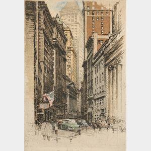 Robert Kasimir (Austrian, 1914-2002)      Two Views:  New York, Broad Street