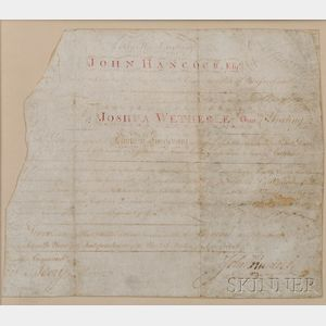 Hancock, John (1737-1793) Signed Document on Parchment.   8 November 1782.