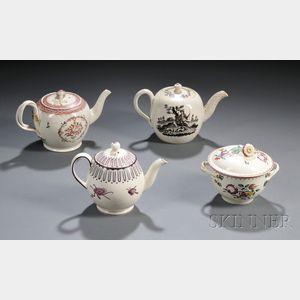 Four Staffordshire Creamware Tea Ware Items