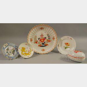 Five Enamel-decorated Meissen Porcelain Items