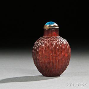 Red Amber Basketweave Snuff Bottle