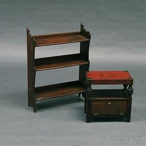 Arts & Crafts Oak Shoeshine Stool and a Shelf
