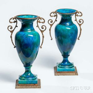 Pair of Sevres Ormolu-mounted Porcelain Vases