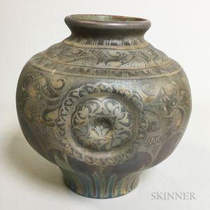 Delft Glazed Iridescent Pottery Vase
