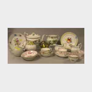 Sixteen Pieces of English and New Hall Porcelain Tea Ware and Four French and German Plates.