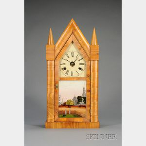 "Mahogany Sharp Gothic or ""Steeple"" Clock by Chauncey Jerome"