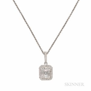 18kt White Gold and Diamond Pendant and Chain