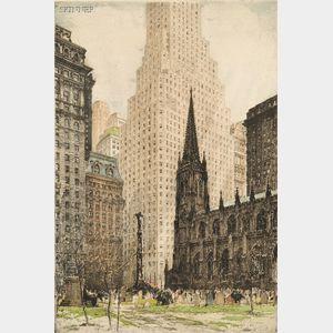 Tanna Kasimir-Hoernes (Austrian/American, 1887-1972)      Two New York City Views:  New York, Trinity Church