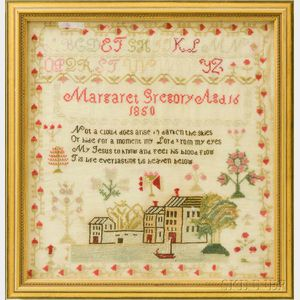 "Framed Needlework Sampler, ""Margaret Gregory,"""