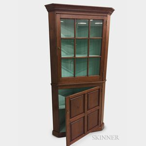 Federal-style Glazed Walnut Two-part Corner Cupboard