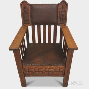 Arts and Crafts Leather-upholstered Carved Oak Armchair