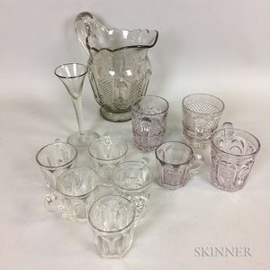 Ten Pieces of Colorless Pattern Glass Tableware