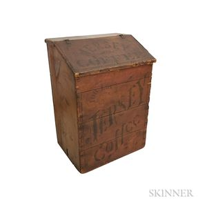 """Dayton Spice Mills Co. """"Jersey Coffee"""" Red-painted and Stenciled Coffee Bin"""