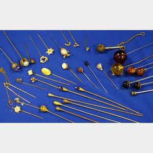 Group of Fifteen Hat Pins and Eighteen Stickpins