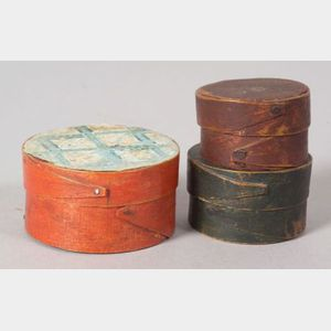 Three Round Miniature Painted Boxes