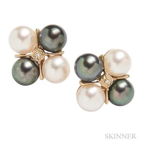 Pair of 14kt Gold, Cultured Pearl, and Diamond Earrings