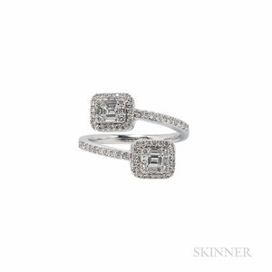 18kt White Gold and Diamond Bypass Ring