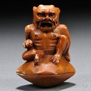 Ivory Netsuke of an Oni   Monster
