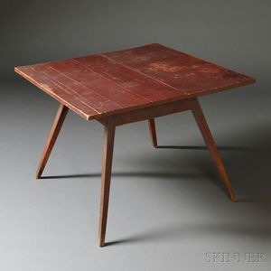 Red-painted Maple and Pine Splay-leg Tea Table