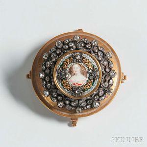 Enameled Portrait Miniature in a Diamond Surround