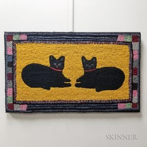 Pictorial Hooked Rug with Cats