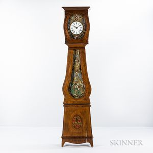 French Grain-painted Pine Morbier Tall Clock
