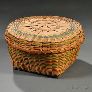 Paint-decorated Covered Splint Basket