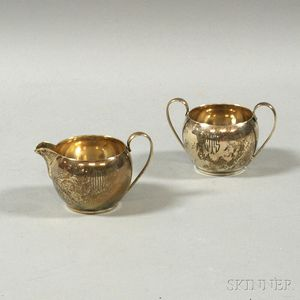Rounded Watson Sterling Silver Creamer and Sugar Set